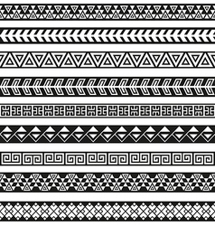 Seamless tribal borders Tribal vintage boho vector image