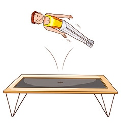 Man athlete jumping on trampoline vector