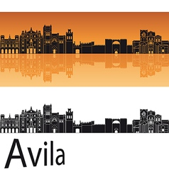 Avila skyline in orange background vector image