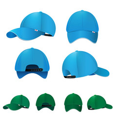 Blank baseball caps in different sides and colors vector