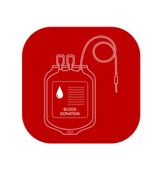 blood transfer bag icon world donor day vector image vector image
