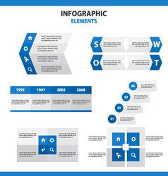 Blue infographic elements presentation templates vector
