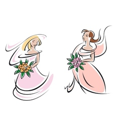 Brides in pink wedding gowns with flowers vector