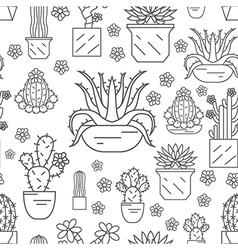 Cactuses and succulents seamless pattern Thin line vector image