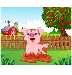 Cartoon cute baby pig in the garden vector image