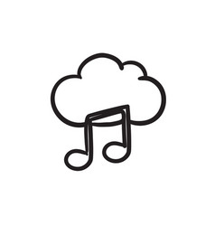 Cloud music sketch icon vector