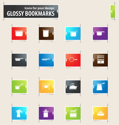 Dishes bookmark icons vector