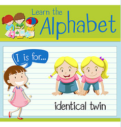 Flashcard letter i is for identical twin vector