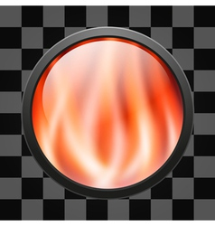 Glossy fire button for web applications vector image