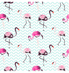 hand drawn purple flamingo bird blue waves vector image vector image