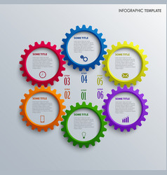 Info graphic with colorful design cogwheel vector