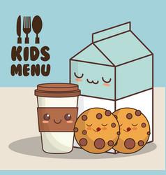 kids menu milk cookies vector image vector image