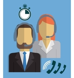 Operator man woman call center service icon vector