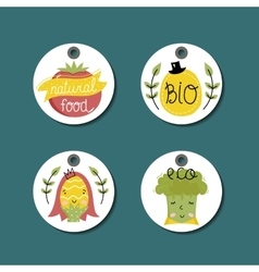 Organic eco and bio food labels set vector