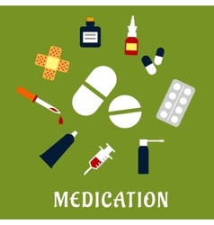 Pills drugs and medical icons vector