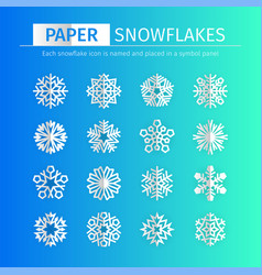 ppaer snowflakes icons set vector image