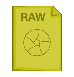 RAW file icon cartoon style vector image