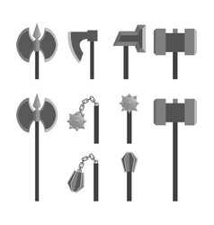 Rpg weapons - axes and hammers vector