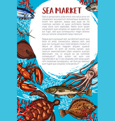 Seafood market and fish restaurant poster vector