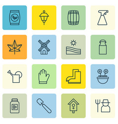 Set of 16 gardening icons includes herb grains vector