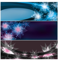 Set of bright horizontal floral banners vector image vector image