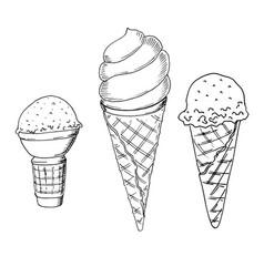set of hand drawn sketch style ice cream ice vector image