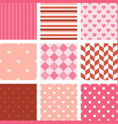 set of pink seamless pattern background vector image