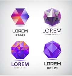 set of purple crystal faceted logos vector image vector image