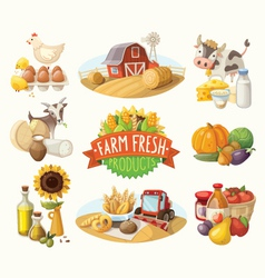 Set of with farm fresh products vector image vector image