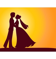 Silhouettes of bride and groom vector image vector image
