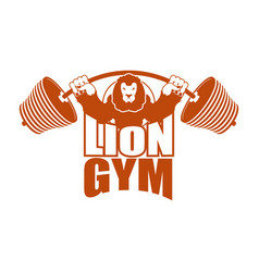 Strong lion emblem leo and barbell logo for gym vector