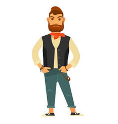 Stylish bearded man in leather vest and jeans vector