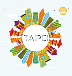 taipei skyline with color buildings blue sky and vector image vector image