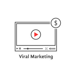 thin line video player like viral marketing vector image