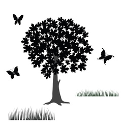 Tree and butterflies vector