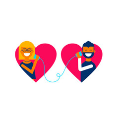 valentine day couple talking online concept design vector image