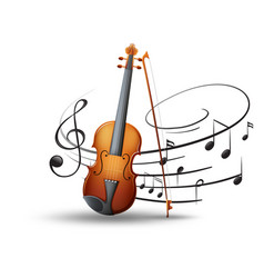 Violin and music notes in background vector