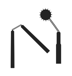 Weapons nunchuck flat icon black silhouette vector image
