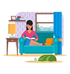Woman reading book on sofa while vacuum cleaner vector image