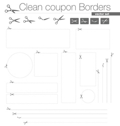 Clean coupon borders set vector