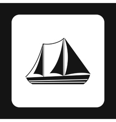 Boat with three sails icon simple style vector