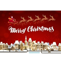 Merry christmas winter landscape with santa claus vector