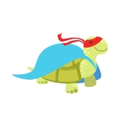 Land turtle animal dressed as superhero with a vector