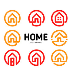 home logos outline style collection real vector image
