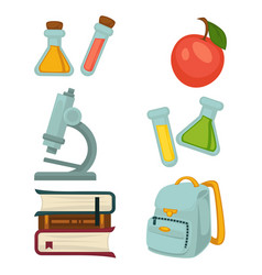 Chemistry specialized students belongings isolated vector