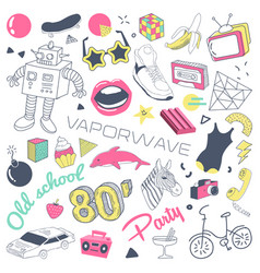 80s fashion hand drawn doodle with skateboard vector