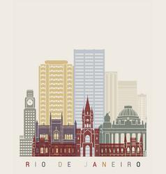 Rio de janeiro v2 skyline poster vector