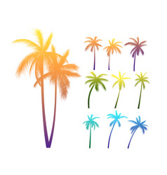 palm trees silhouettes vector image