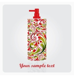 Bottle of lotion made of the leaf pattern vector image