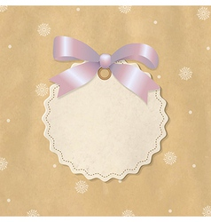 Christmas label with pink ribbon vector